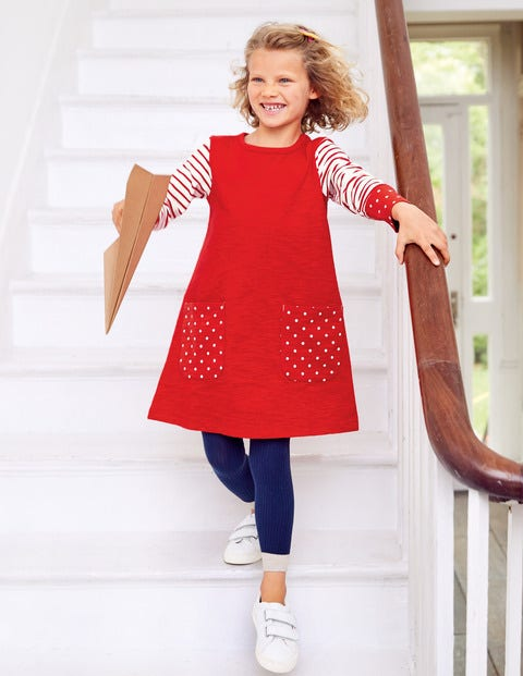 Fun Pocket Jersey Dress - Poppadew Red/Spot