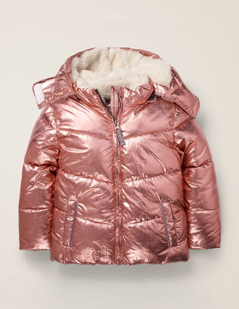 Cosy Padded Jacket - Pink Metallic