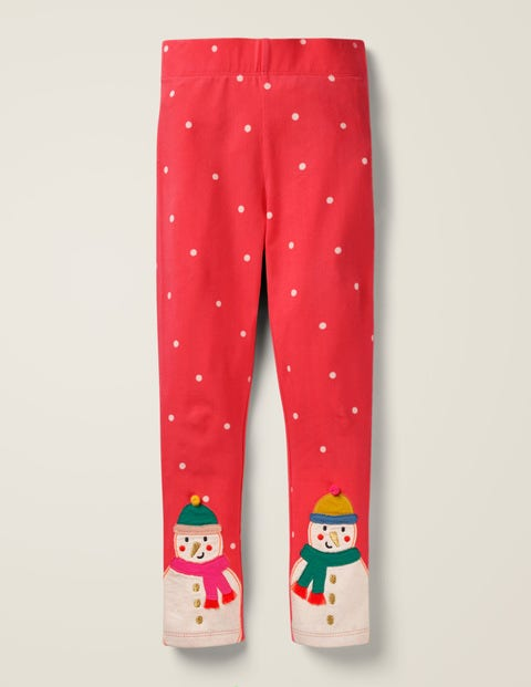 Appliqué Leggings - Red Pin Spot Snowmen