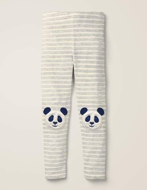 Appliqué Leggings - Grey Marl/Ivory Pandas
