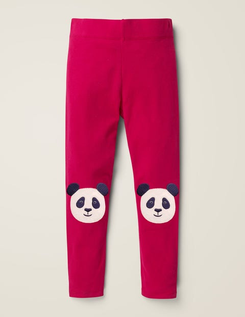 Appliqué Leggings - Rose Apple Red Pandas