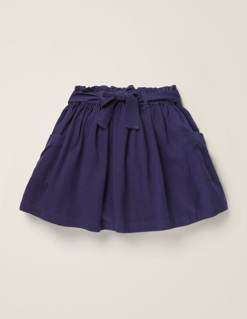 Tie-Waist Pocket Skirt - College Blue