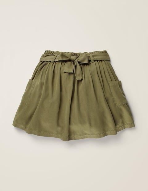 Tie-waist Pocket Skirt - Khaki Green