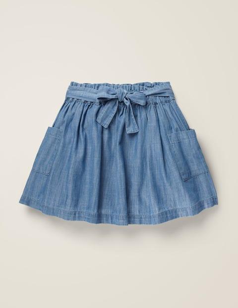 Tie-Waist Pocket Skirt - Chambray
