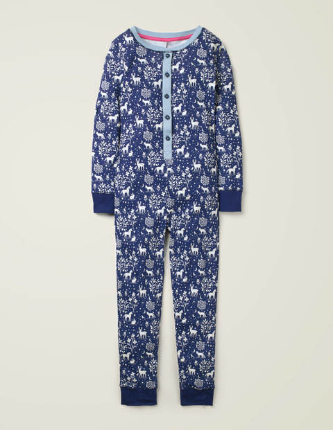 Cosy All-In-One Pajamas - Navy Glow-in-the-dark Toile