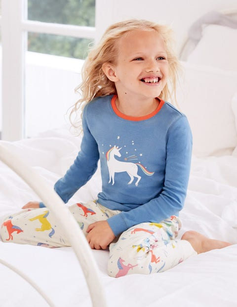 Cosy Long John Pajamas - Multi Unicorns