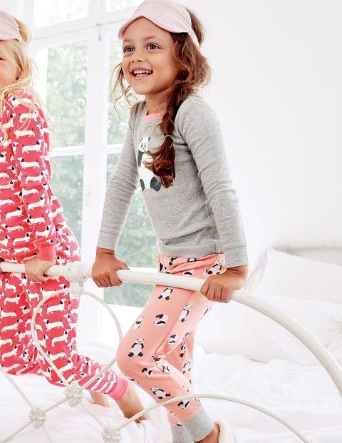 Cosy Long John Pajamas - Chalky Pink Pandas