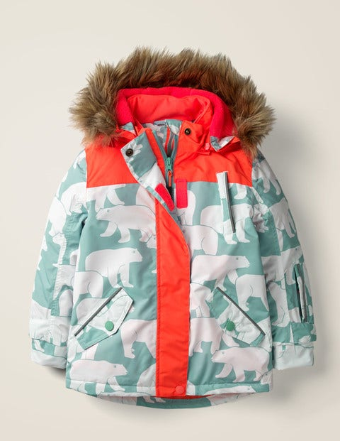 All-Weather Waterproof Jacket - Mineral Blue Polar Bears