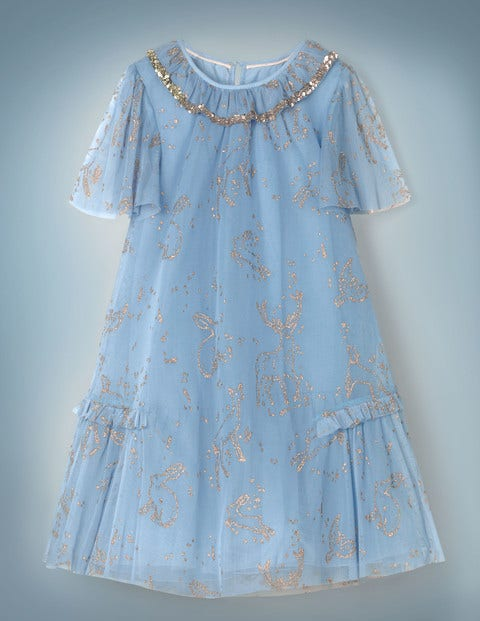 1920s Children Fashions: Girls, Boys, Baby Costumes Patronus Party Dress Grey Girls Boden Blue £17.50 AT vintagedancer.com