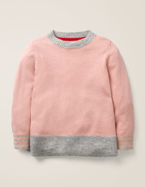 Crochet Heart Patch Jumper - Chalky Pink