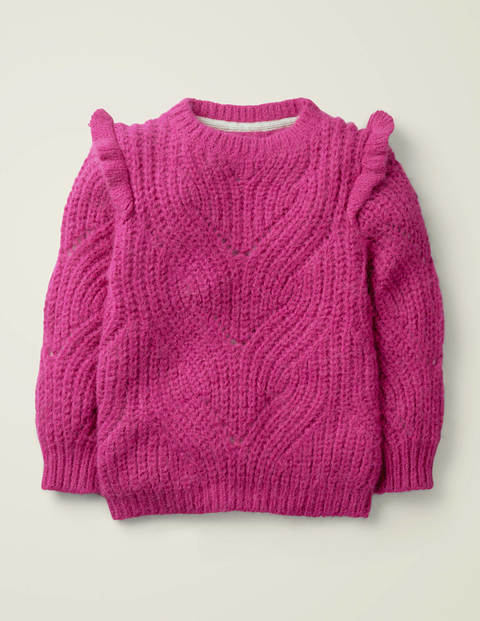 Cable Frill Jumper - Pink Yarrow