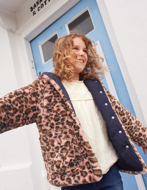 Cosy Reversible Coat - Chalky Pink/Navy Leopard Spot