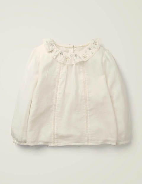 Embroidered Star Collar Top - Ivory