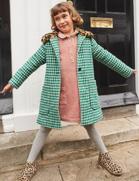 Wonderful Wool Coat - Hike Green Dogtooth Check