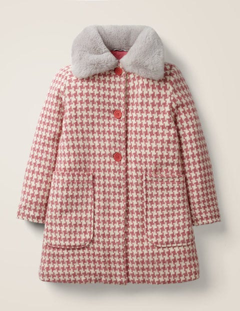 Wonderful Wool Coat - Pale Pink Dogtooth Check