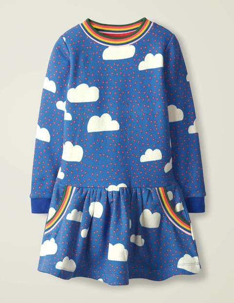 Cosy Sweatshirt Dress - Blue Love Clouds