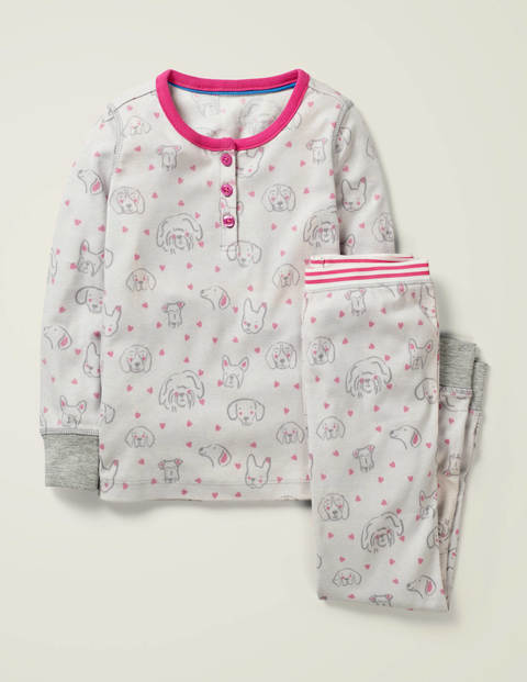 Henley Pajama Set - Grey Marl Love Dogs