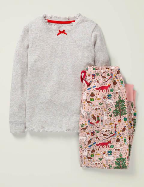 Woven Pyjama Set - Milkshake Pink Festive Family