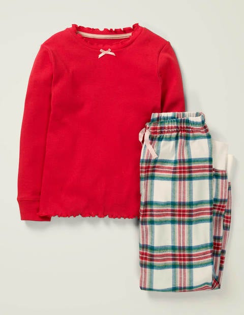 Woven Pyjama Set - Rockabilly Red & Green Check