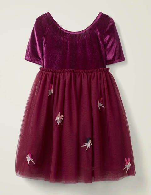 Velvet Appliqué Dress - Beetroot Purple Fairies
