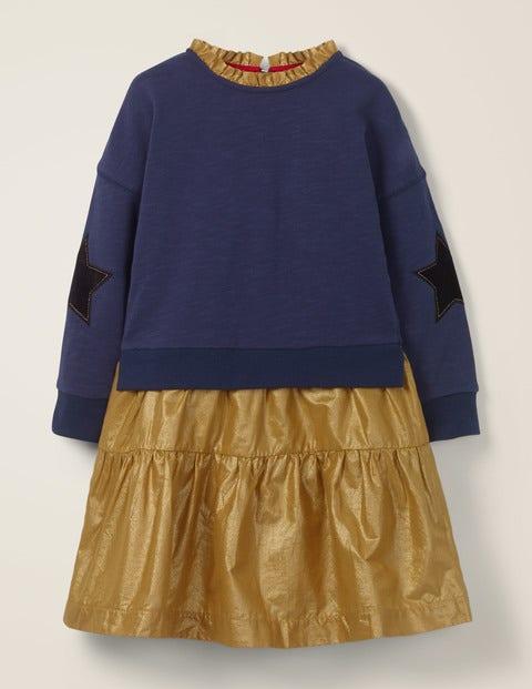 Jersey Woven Dress - Navy/Gold