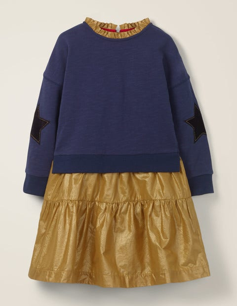 Mini Gewebtes Jerseykleid Gold Mädchen Boden, Gold gold |