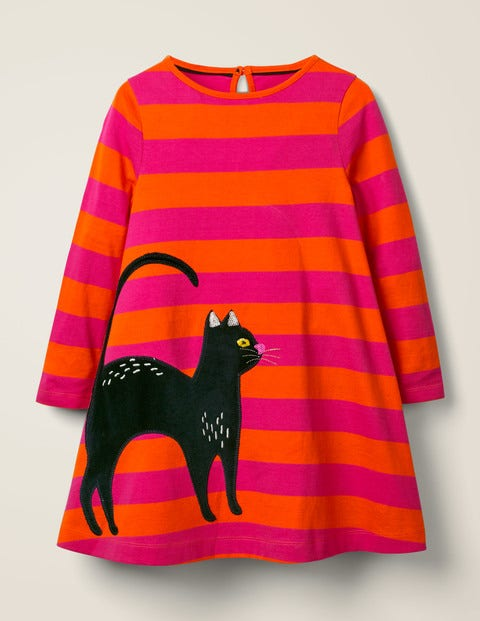 Cat Appliqué Dress - Orange/Shocking Pink Stripe