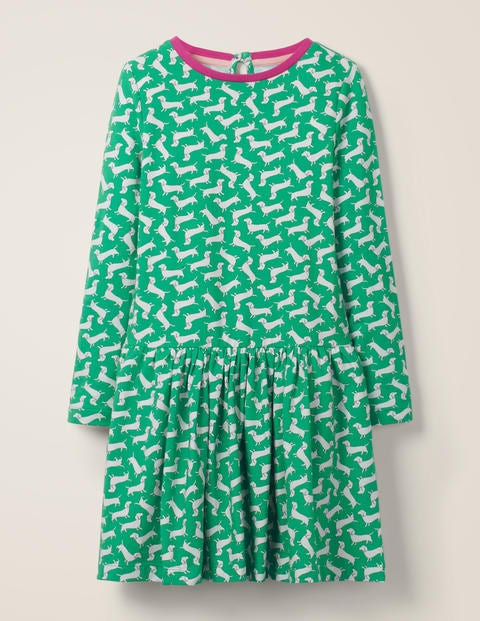 Printed Jersey Dress - Hike Green Sausage Dogs
