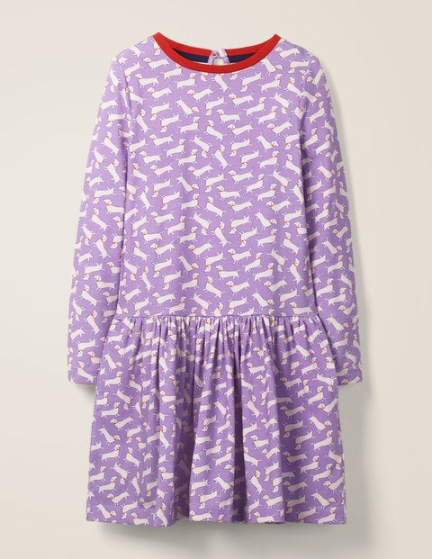 Printed Jersey Dress - Aster Purple Sausage Dogs