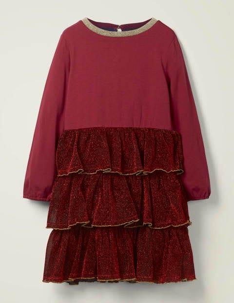 Mini Gestuftes glitzerndes Jerseykleid Red Mädchen Boden, Red rot |