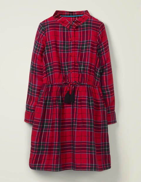 Tassel Button-Through Dress - Rockabilly Red Check