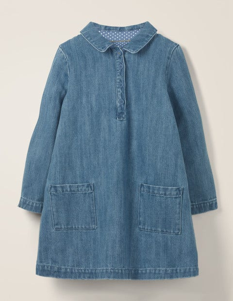 Button-Through Dress - Mid Vintage Denim
