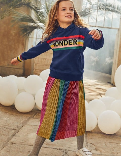 Sparkly Pleated Midi Skirt - Sparkly Rainbow Stripe