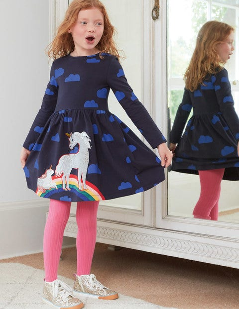 Printed Appliqué Dress - Navy Love Clouds Unicorns