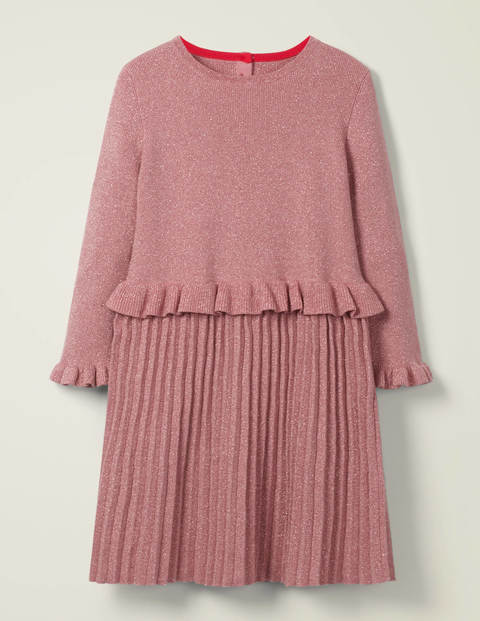 Sparkly Knitted Party Dress - Dusky Rose Pink
