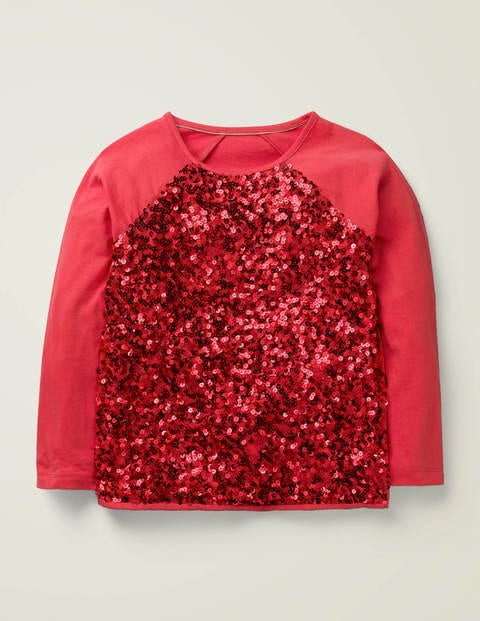 T-shirt à manches raglan et sequins - Rouge rockabilly