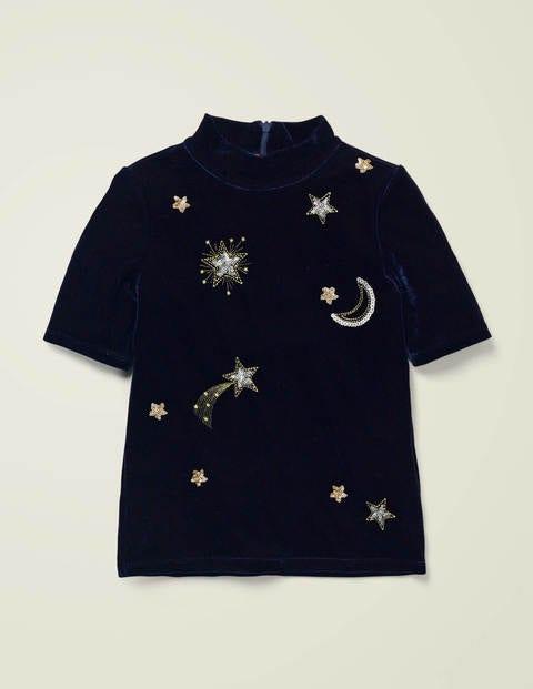 T-shirt ornementé en velours