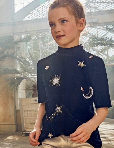 Embellished Velvet T-Shirt - College Blue Moon and Stars