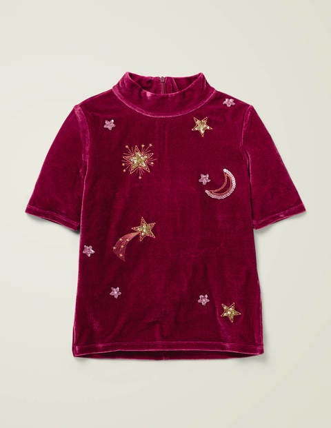 Embellished Velvet T-Shirt - Red Moon and Stars