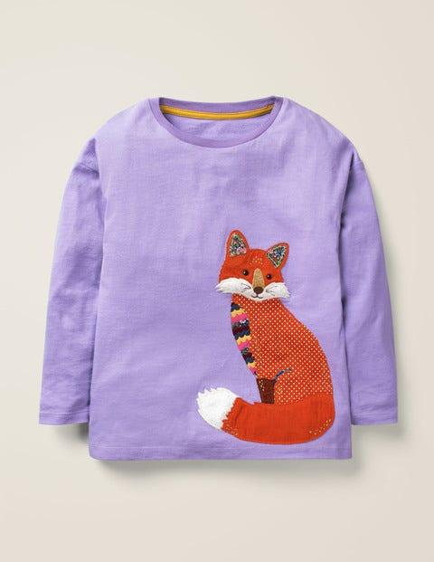 Forest Appliqué T-Shirt - Aster Purple Fox