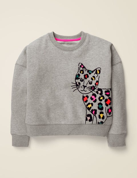 Flocked Animal Sweatshirt - Grey Marl Cat