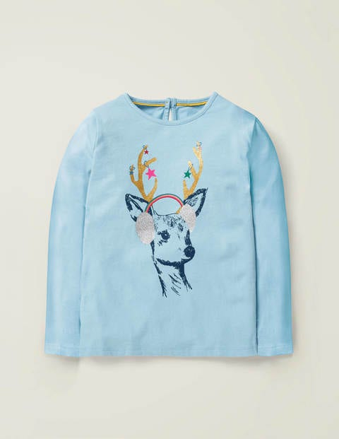 Festive Sparkle T-Shirt - Cloudburst Blue Deer