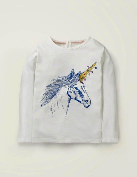 Festive Sparkle T-Shirt - Ivory Unicorn