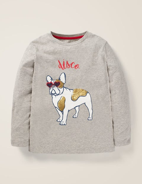 Colour-Change Animal T-Shirt - Grey Marl Bull Dog