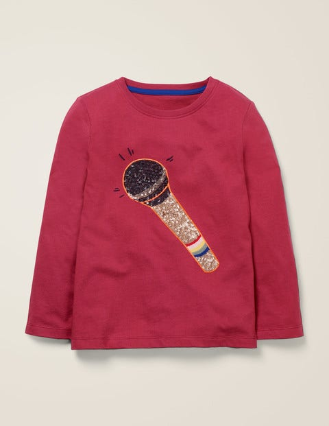 Sequin Music T-Shirt - Bramble Red Microphone