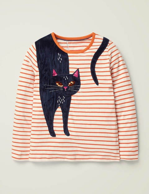 Stripy Animal Appliqué T-Shirt - Ivory/Orange Cat