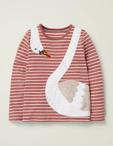 Stripy Animal Appliqué T-Shirt - Dusky Rose Pink/Ivory Swan
