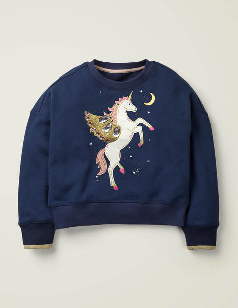 Embellished Sweatshirt - College Blue Unicorn