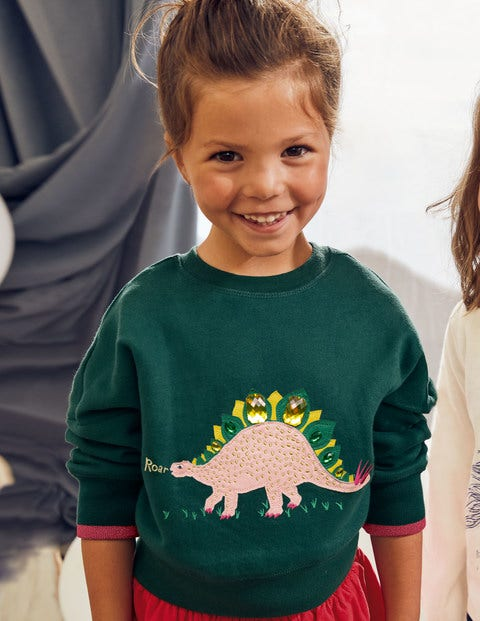Embellished Sweatshirt - Emerald Night Green Dinosaur