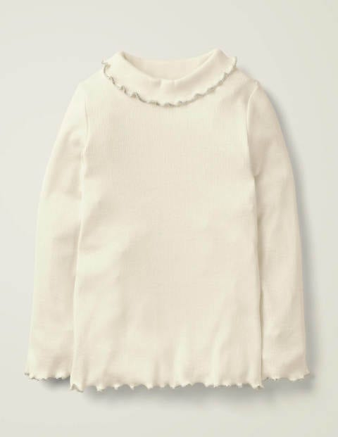 Ruffle Roll Neck T-Shirt - Ivory